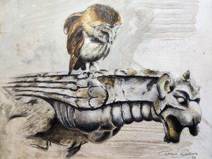 MIRANDO AL AYER - Técnica mixta sobre madera - 60 x 45 cm